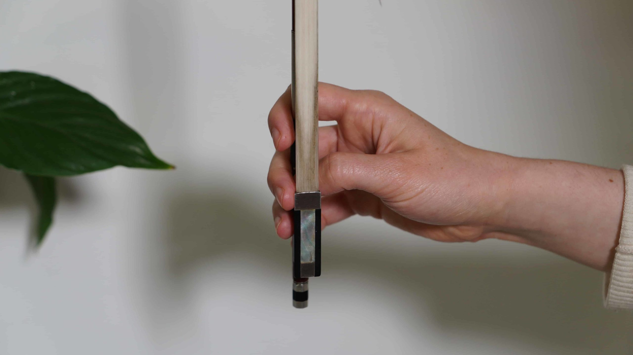 how to hold a violin bow below