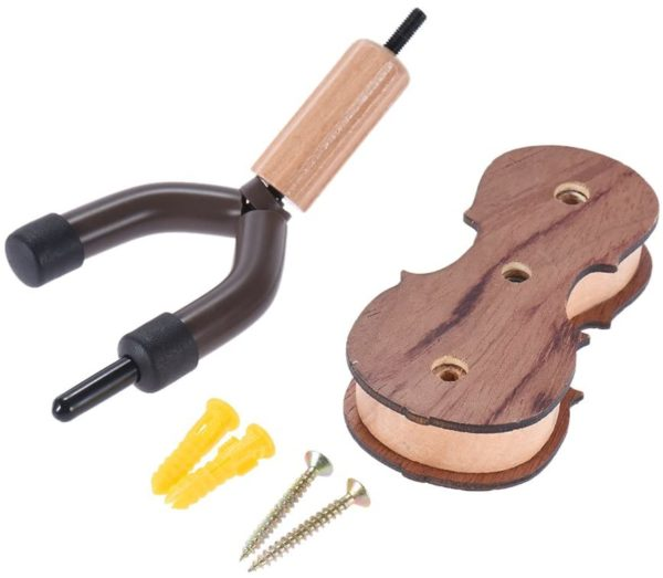 Hardwood Violin Hanger / Hook with Bow Holder for Home & Studio – Wall Mount Use – Rosewood Color (5)