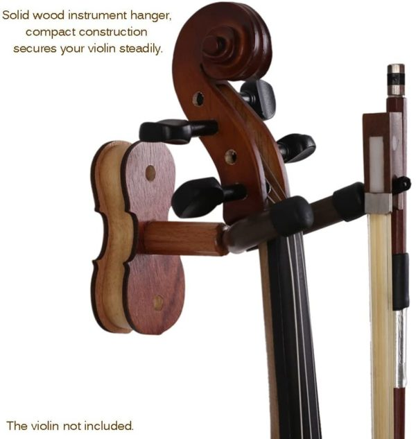 Hardwood Violin Hanger / Hook with Bow Holder for Home & Studio – Wall Mount Use – Rosewood Color (3)