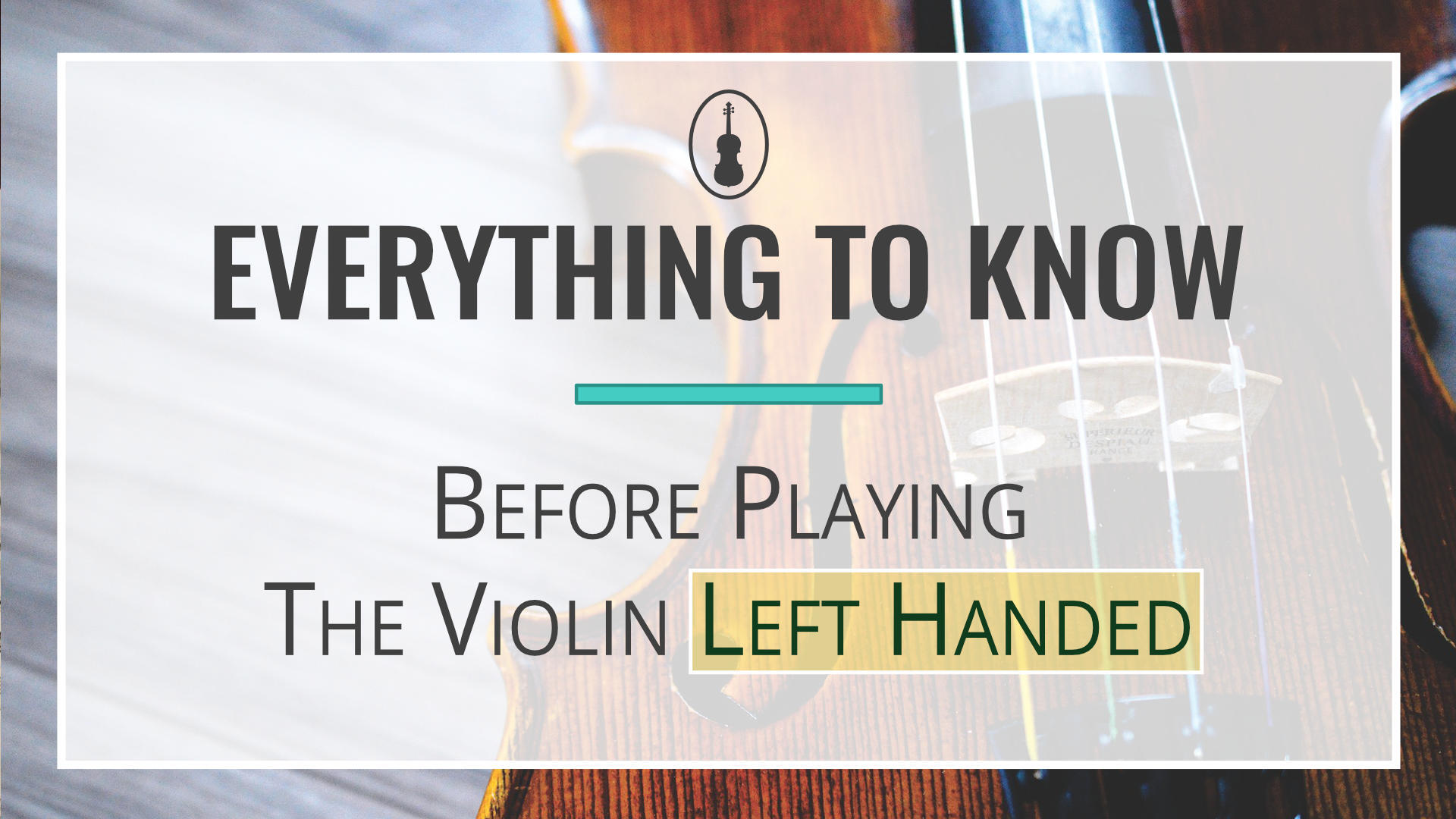 Blog - Everything to Know Before Playing the Violin Left Handed