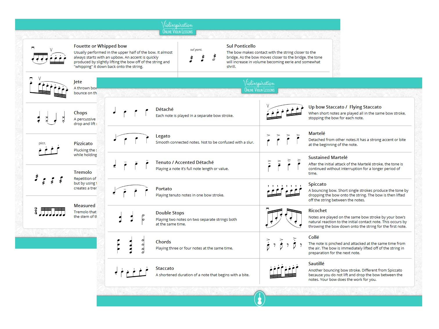 Complete Overview of Violin Bowing Techniques Terms, Symbols and Definitions - Bowing Technique Cheat Sheet