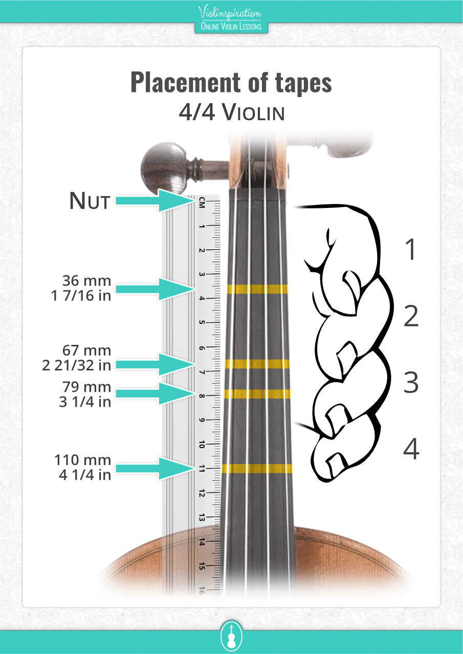 DIY Violin Fingering Tape (Cheap & Easy) - Placement of Violin Fingering Tapes With Ruler