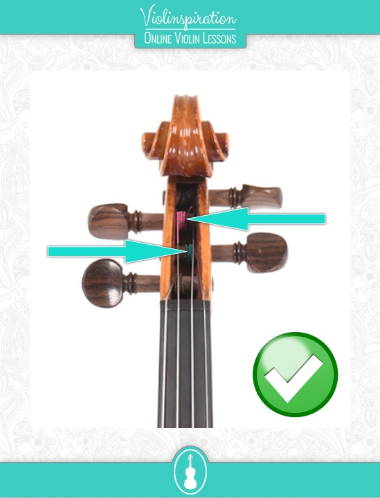 How to Tune The Violin with The Pegs - Winding of the Strings is Pushed Against the Pegbox