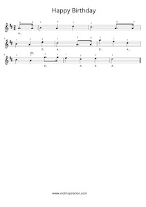 How to play Happy Birthday, Free Violin Sheet Music [PDF]