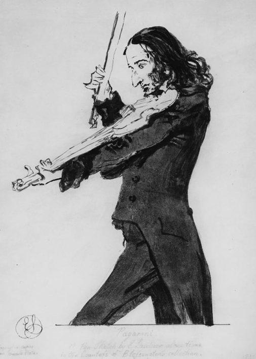 Violin Chinrest - Portrait of Niccolo Paganini by Sir Edwin Henry Landseer