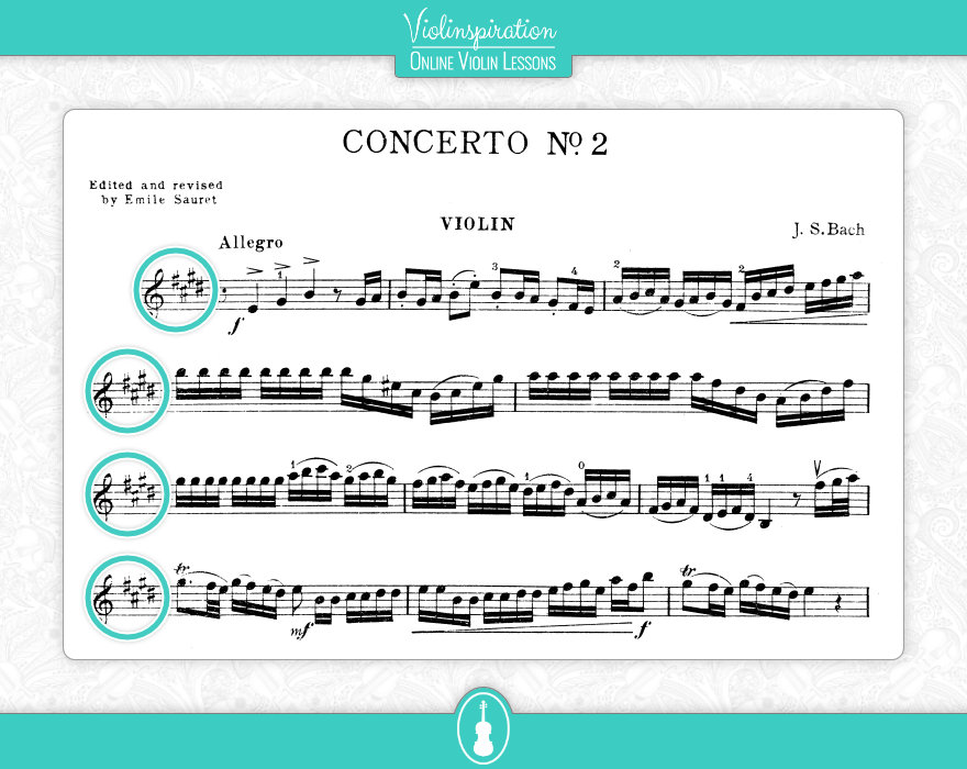Violin Key Signatures - Bach Concerto No 2