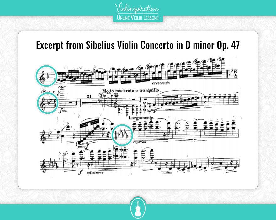 Violin Key Signatures - Sibelius Concerto