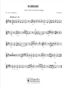 Violin Lesson - Lord of the Rings - In Dreams - Howard Shore - Violin Tutorial Sheet Music