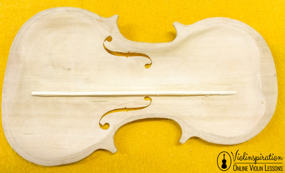 Violin made of - Top Plate with Bass Bar