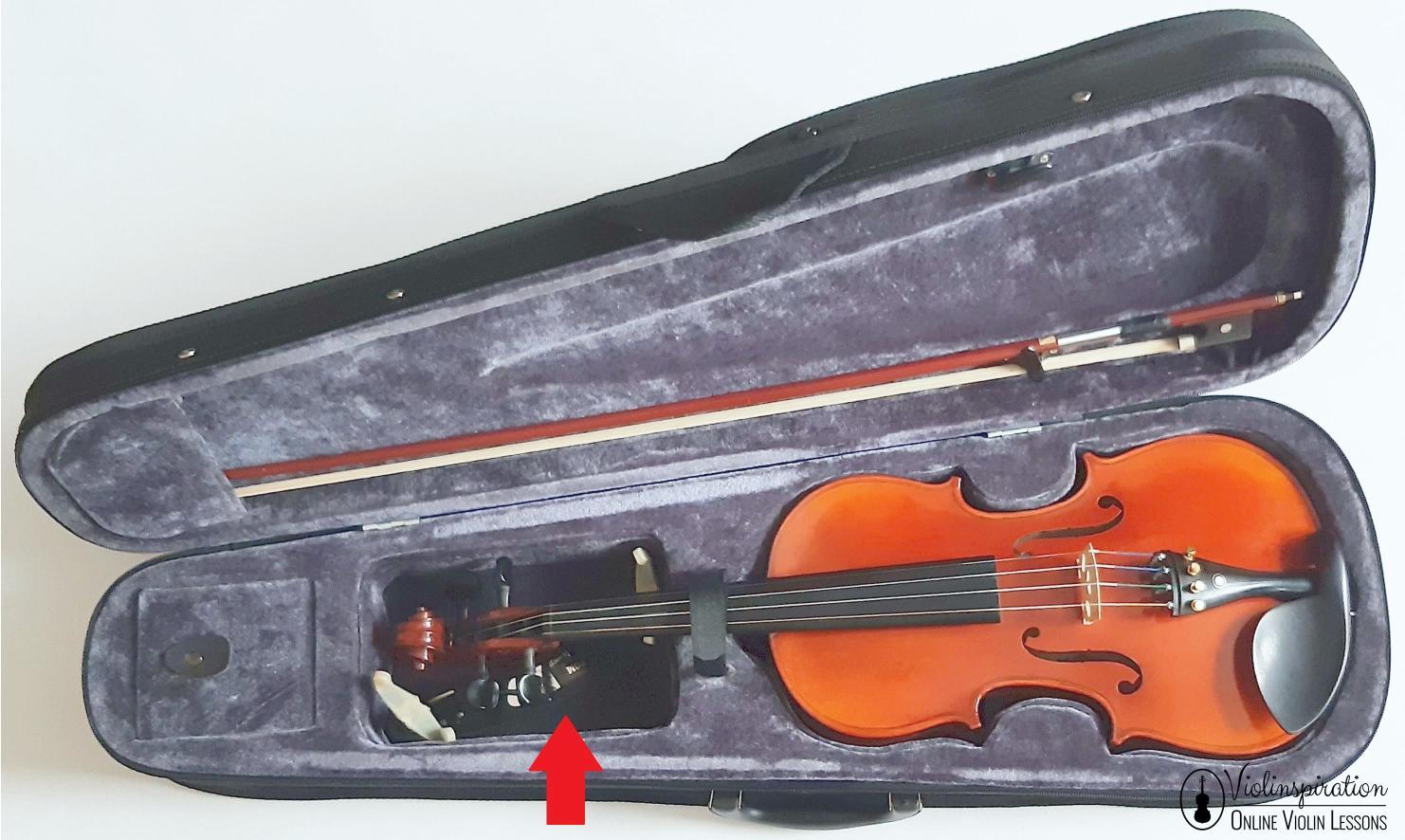 Where to put a shoulder rest in a case - shoulder rest fits under the neck of the violin